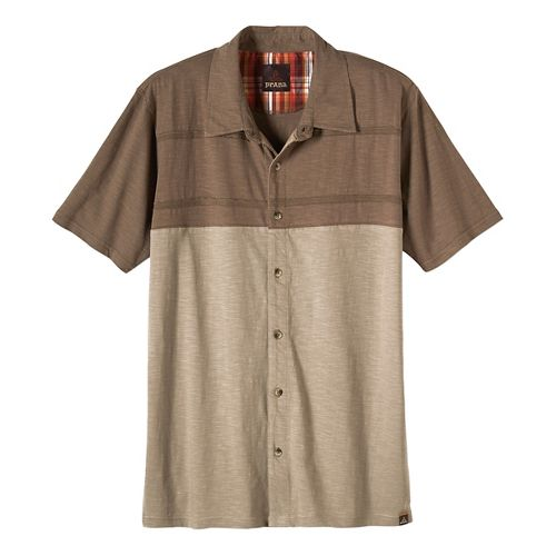 Mens prAna Keylyn Button Front Short Sleeve Non-Technical Tops - Mud M