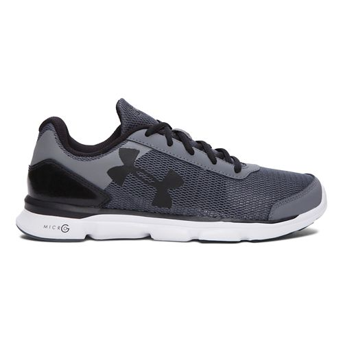 Kids Under Armour Micro G Speed Swift Running Shoe - Grey/Black 3.5Y