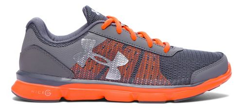 Kids Under Armour Micro G Speed Swift Running Shoe - Graphite/Orange 3.5Y