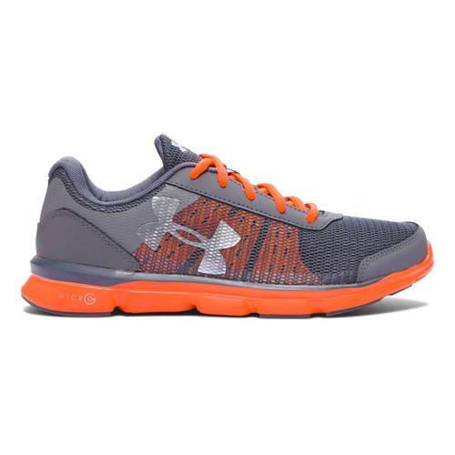 Kids Under Armour Micro G Speed Swift Running Shoe - Graphite/Orange 4.5Y