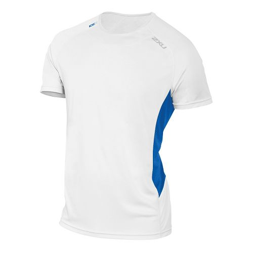 Mens 2XU ICE X Short Sleeve Technical Tops - White/Blue Print XXL
