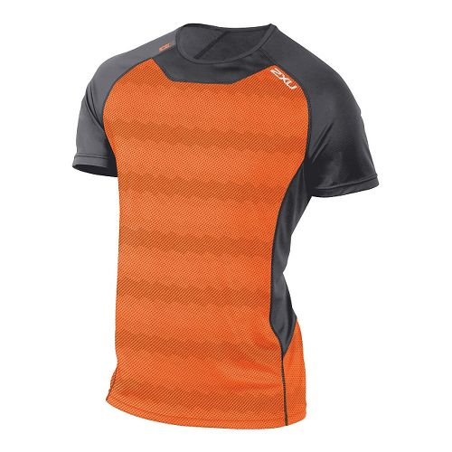Mens 2XU ICE X Short Sleeve Technical Tops - Orange Print S