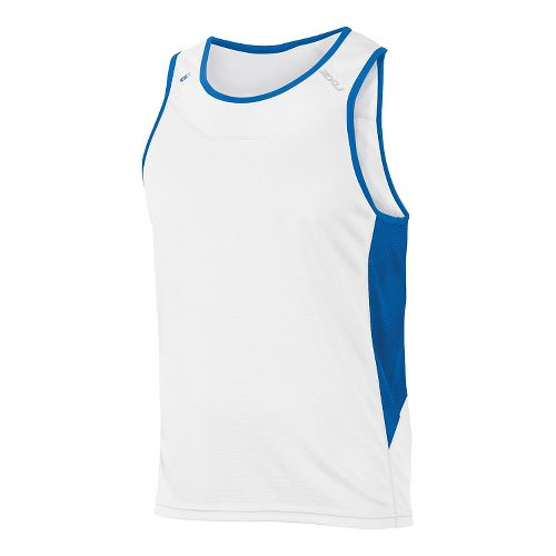 Mens 2XU ICE X Singlet Sleeveless & Tank Technical Tops - White/Cobalt Blue XXL