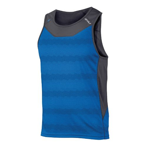 Mens 2XU ICE X Singlet Sleeveless & Tank Technical Tops - Cobalt Blue Print S ...