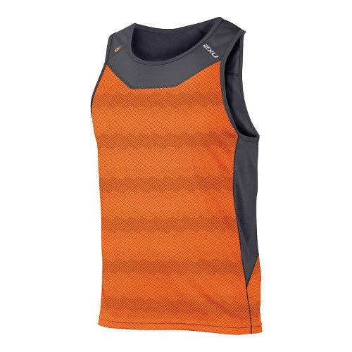 Mens 2XU ICE X Singlet Sleeveless & Tank Technical Tops - Orange Print XXL