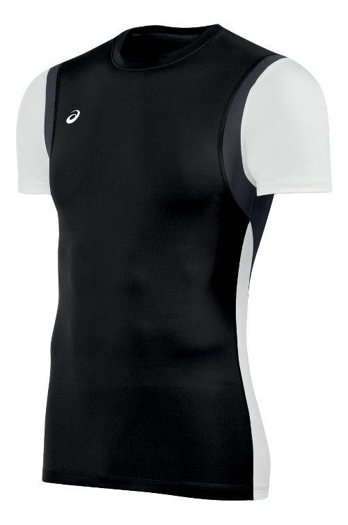 Mens ASICS Enduro Short Sleeve Technical Tops - Black/White XS