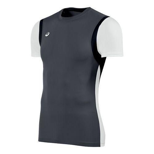 Mens ASICS Enduro Short Sleeve Technical Tops - Steel Grey/White M
