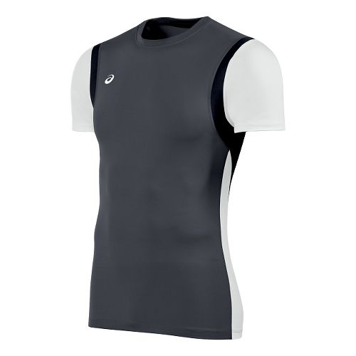 Mens ASICS Enduro Short Sleeve Technical Tops - Steel Grey/White XL