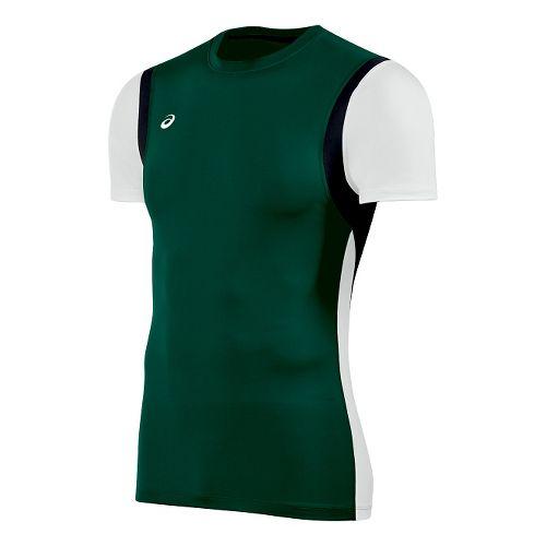 Mens ASICS Enduro Short Sleeve Technical Tops - Forest/White XL