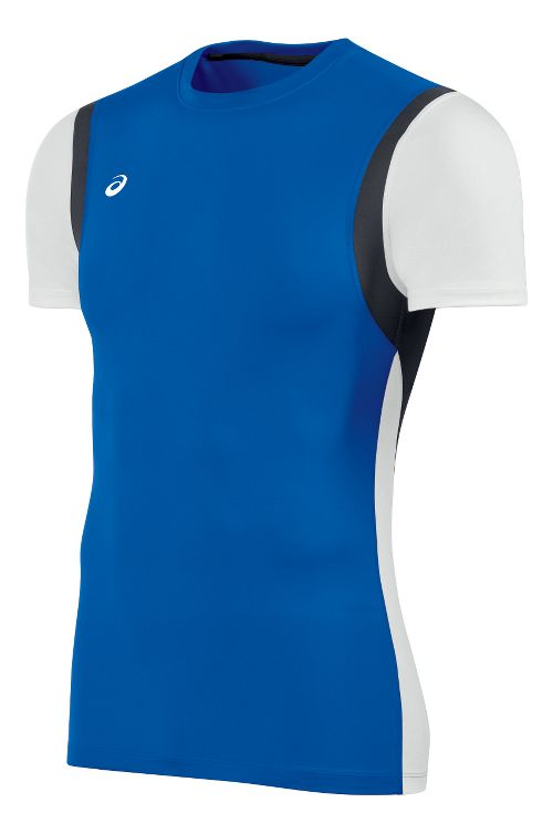 Mens ASICS Enduro Short Sleeve Technical Tops - Royal/White M