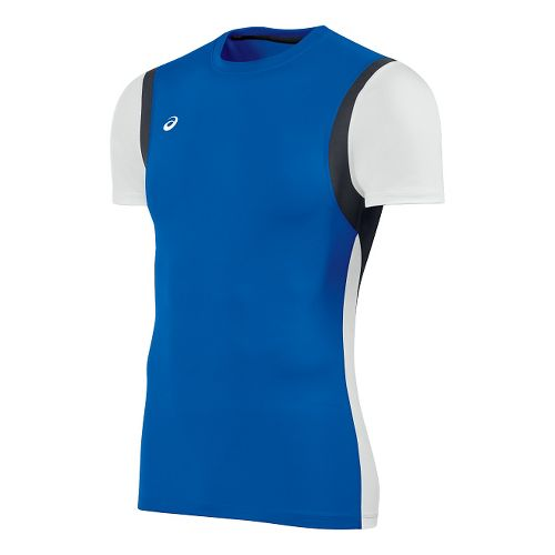 Mens ASICS Enduro Short Sleeve Technical Tops - Royal/White L