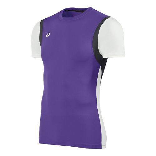 Mens ASICS Enduro Short Sleeve Technical Tops - Purple/White XL