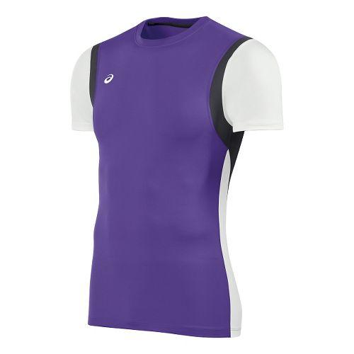 Mens ASICS Enduro Short Sleeve Technical Tops - Purple/White XXL