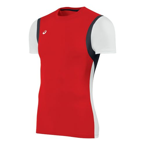 Mens ASICS Enduro Short Sleeve Technical Tops - Red/White XS