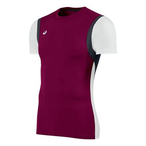 Mens ASICS Enduro Short Sleeve Technical Tops - Cardinal/White XL