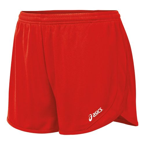Womens ASICS Rival II 1/2 Split Unlined Shorts - Red L
