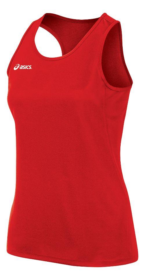 Womens ASICS Rival II Singlet Sleeveless & Tank Tops Technical Tops - Red L