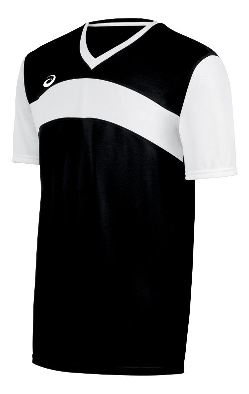 Mens ASICS Volley Jersey Short Sleeve Technical Tops - Black/White L