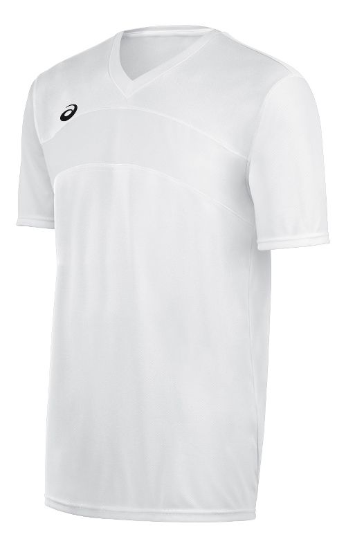 Mens ASICS Volley Jersey Short Sleeve Technical Tops - White/White S