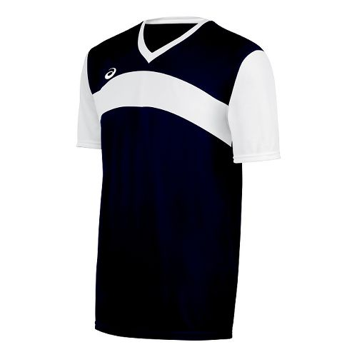 Mens ASICS Volley Jersey Short Sleeve Technical Tops - Navy/White XL