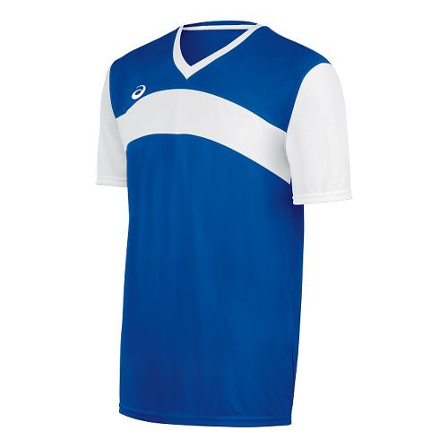 Mens ASICS Volley Jersey Short Sleeve Technical Tops - Royal/White M