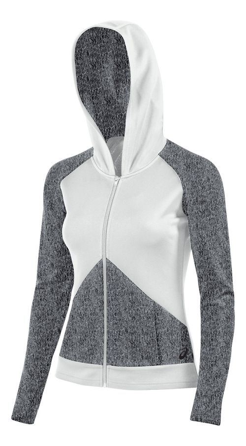 Womens ASICS Morgan Fullzip Hoodie & Sweatshirts Technical Tops - Graphite/White L