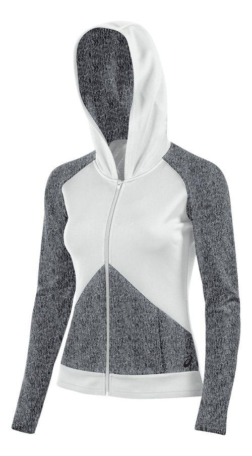 Womens ASICS Morgan Fullzip Hoodie & Sweatshirts Technical Tops - Graphite/White M
