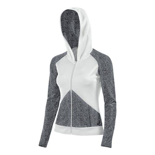 Womens ASICS Morgan Fullzip Hoodie & Sweatshirts Technical Tops - Graphite/White XXL