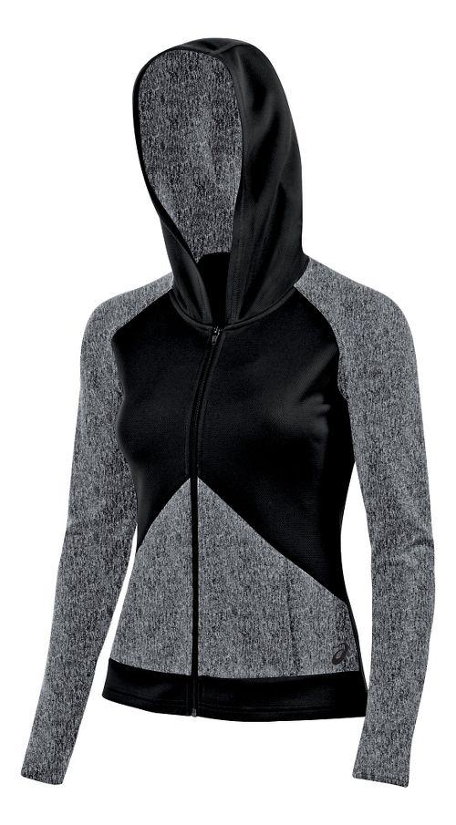 Womens ASICS Morgan Fullzip Hoodie & Sweatshirts Technical Tops - Graphite/Black L