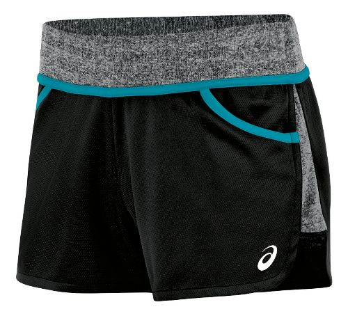 Womens ASICS Morgan Shorty Unlined Shorts - Black/Teal S