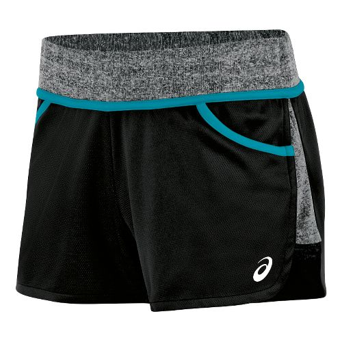 Womens ASICS Morgan Shorty Unlined Shorts - Black/Teal L