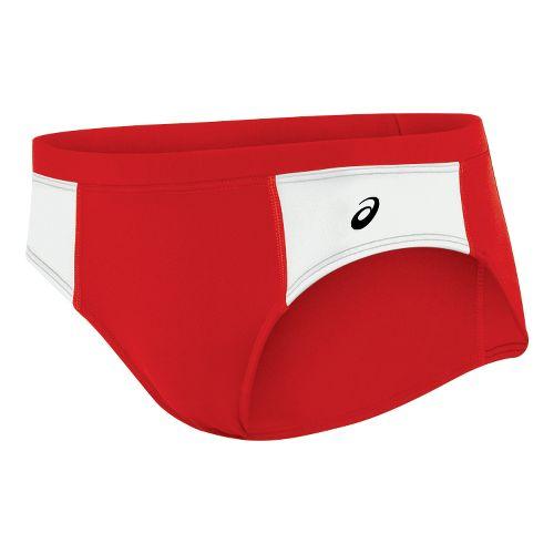 Womens ASICS Chaser Brief Underwear Bottoms - Red/White S