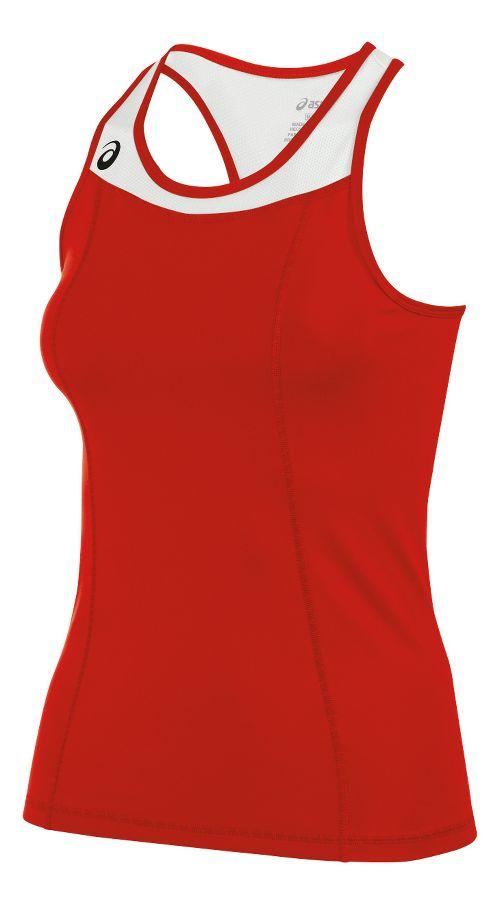 Womens ASICS Chaser Shimmel Sleeveless & Tank Technical Tops - Red/White M