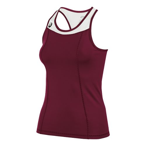 Womens ASICS Chaser Shimmel Sleeveless & Tank Technical Tops - Cardinal/White L