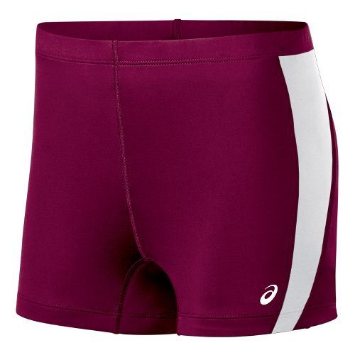 Womens ASICS Chaser Compression & Fitted Shorts - Cardinal/White XL