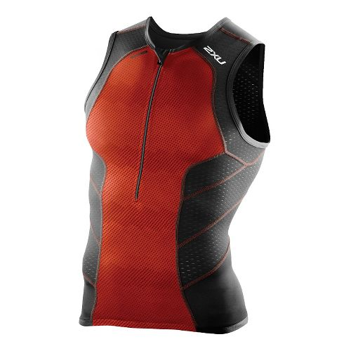 Mens 2XU Perform Tri Singlet Sleeveless & Tank Technical Tops - Desert Red/Black M