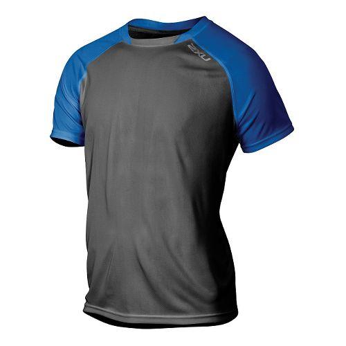 Mens 2XU Tech Vent 2 Tone Short Sleeve Technical Tops - Ink/Cobalt Blue S