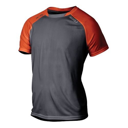 Mens 2XU Tech Vent 2 Tone Short Sleeve Technical Tops - Desert Red/Ink L
