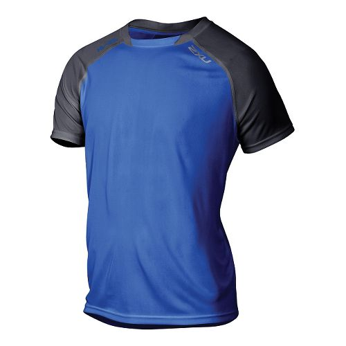 Mens 2XU Tech Vent 2 Tone Short Sleeve Technical Tops - Cobalt Blue/Ink XXL