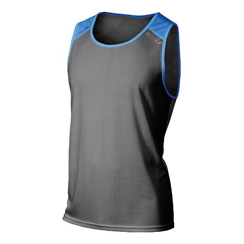 Mens 2XU Tech Vent 2 Tone Singlet Sleeveless & Tank Technical Tops - Ink/Cobalt Blue ...