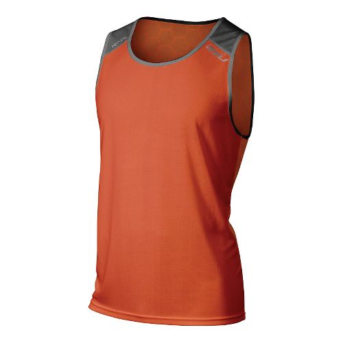 Mens 2XU Tech Vent 2 Tone Singlet Sleeveless & Tank Technical Tops - Desert Red/Ink ...