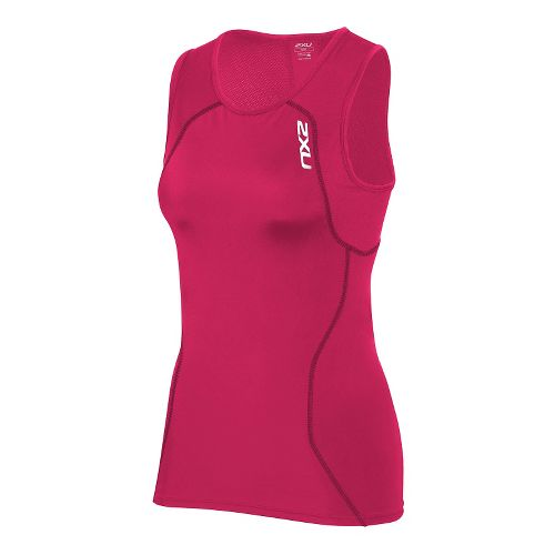 Womens 2XU Active Tri Singlet Sleeveless & Tank Technical Tops - Cherry Pink/Ink S