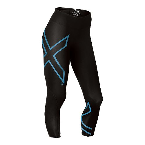Womens 2XU ICE Mid-Rise 7/8 Compression Tights & Leggings Pants - Black/Ice Blue M-R