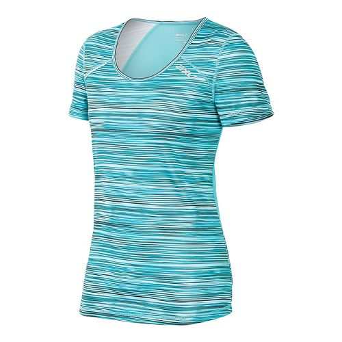 Womens 2XU ICE X Short Sleeve Technical Tops - Carpi Blue XS