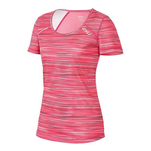 Womens 2XU ICE X Short Sleeve Technical Tops - Cherry Pink XS