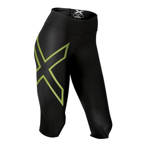 Womens 2XU Mid-Rise 3/4 Compression Tights Tall Capris Pants - Black/Bright Green L-R