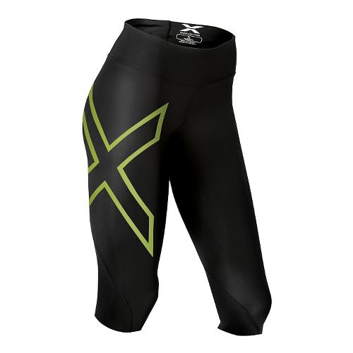 Womens 2XU Mid-Rise 3/4 Compression Tights Tall Capris Pants - Black/Bright Green S-R