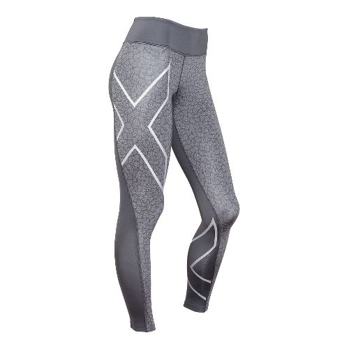 Womens 2XU Mid-Rise Compression Print Tights & Leggings Pants - Slate/Bone Print L-R