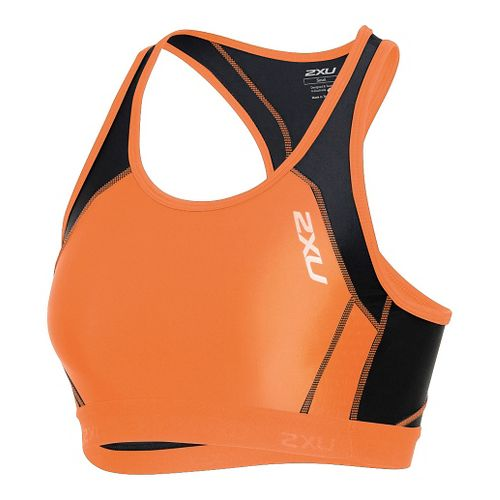 Womens 2XU Perform Tri Crop Sleeveless & Tank Technical Tops - Orange Print/Black M