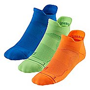 R-Gear Unstoppable Thin Cushion No Show Tab 3 pack Socks - Neon Glow L